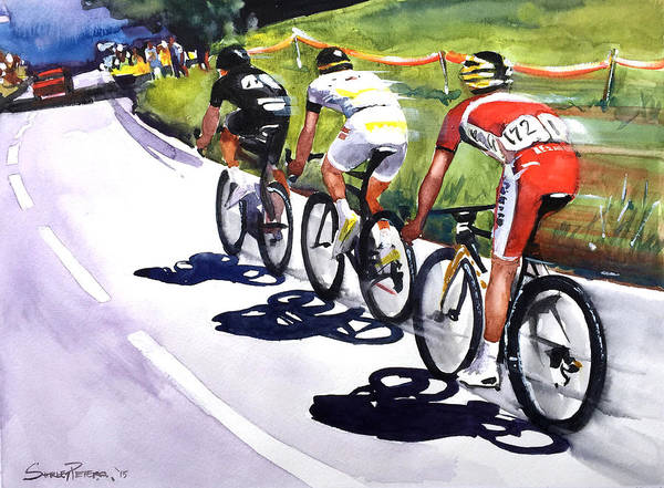 Le Tour De France Wall Art - Painting - On The Road by Shirley Peters