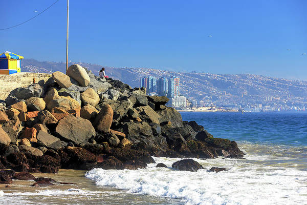 Photograph - On The Rocks At Acapulco Beach Chile by John Rizzuto