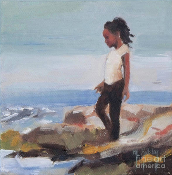 Granddaughter Painting - On The Rocks by Mary Hubley