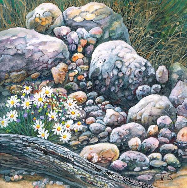 Painting - On The Rocks by Val Stokes