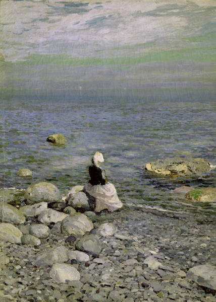Pebble Painting - On The Shore Of The Black Sea by Konstantin Alekseevich Korovin