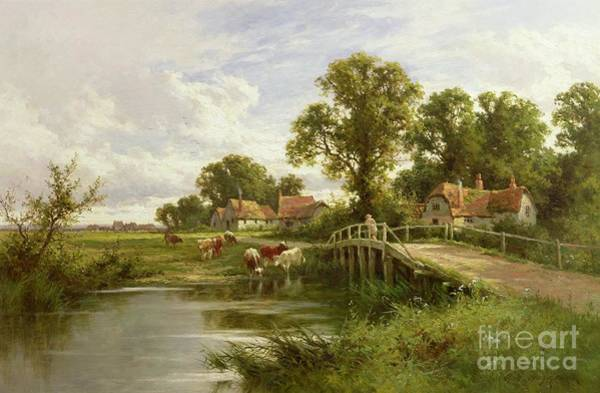 Riverbank Painting - On The Thames Near Marlow by Henry Parker
