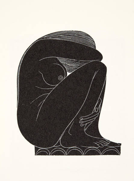 Gill Drawing - On The Tiles by Eric Gill