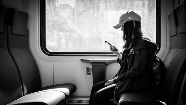 Faceless Photograph - On The Train - Helsinki, Finland - Black And White Street Photography by Giuseppe Milo