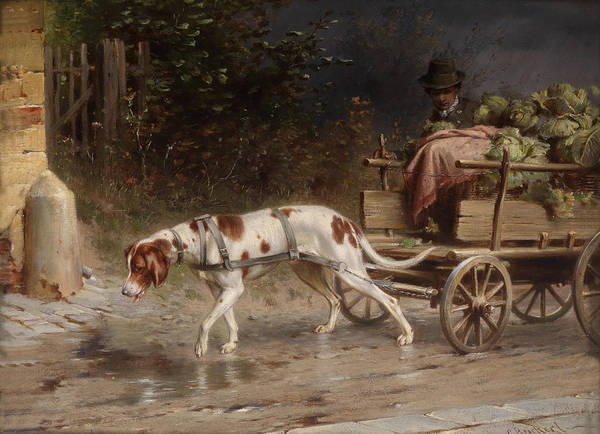 Pulling Painting - On The Wagon To Market by Mountain Dreams