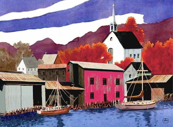 Wall Art - Painting - On The Water Front V2 by Ron Chambers