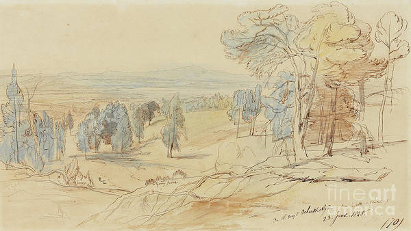 Wall Art - Drawing - On The Way To Achmet Aga From Castella And Chalcis, Greece, 23 June 1848 by Edward Lear