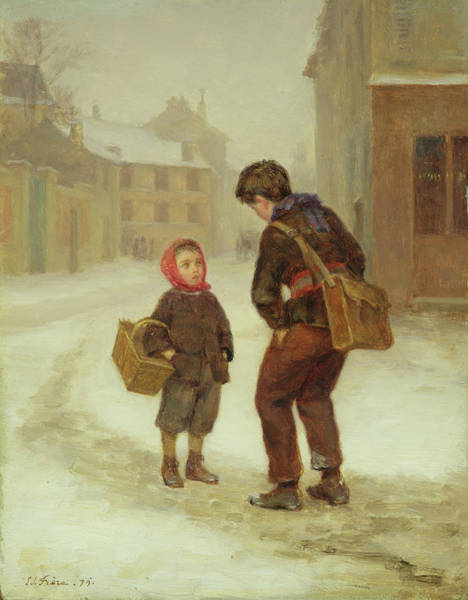 1879 Painting - On The Way To School In The Snow by Pierre Edouard Frere