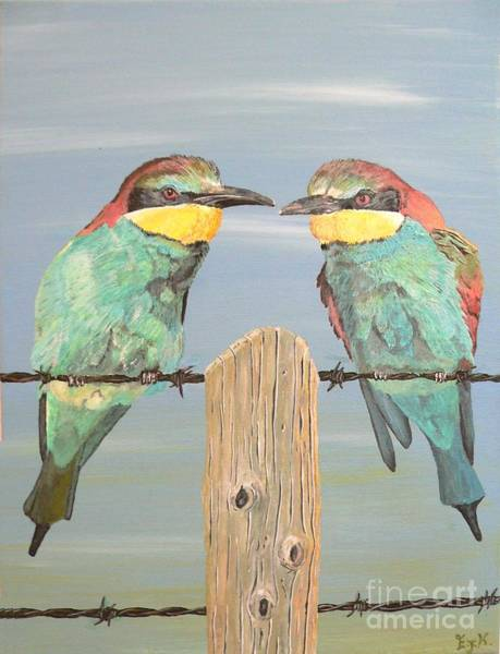 Painting - On The Wire Bee-eaters by Eric Kempson