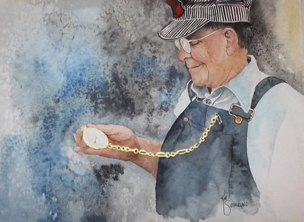 Grandfather Clock Painting - On Time by Kim Whitton