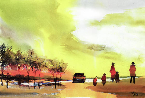 Painting - On Vacation by Anil Nene