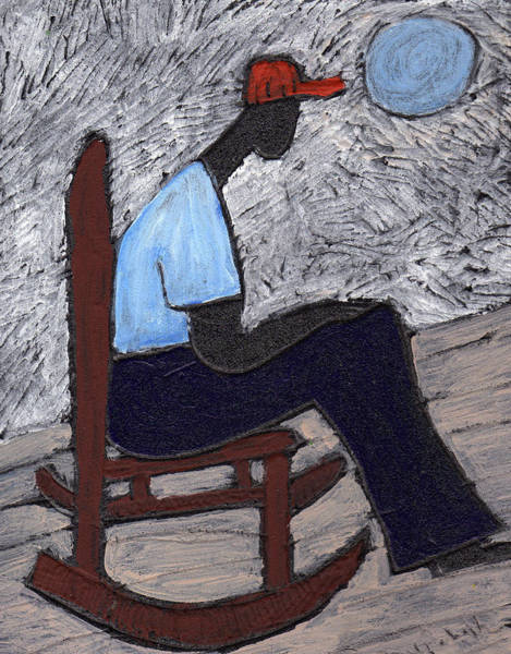 Rocking Chairs Painting - Once In A Blue Moon by Wayne Potrafka