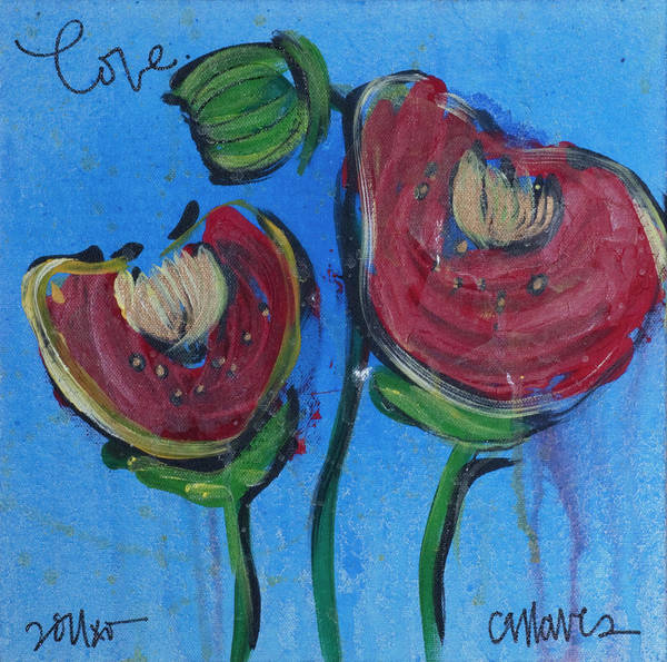 Painting - Once Upon A Yoga Mat Poppies 1 by Laurie Maves ART