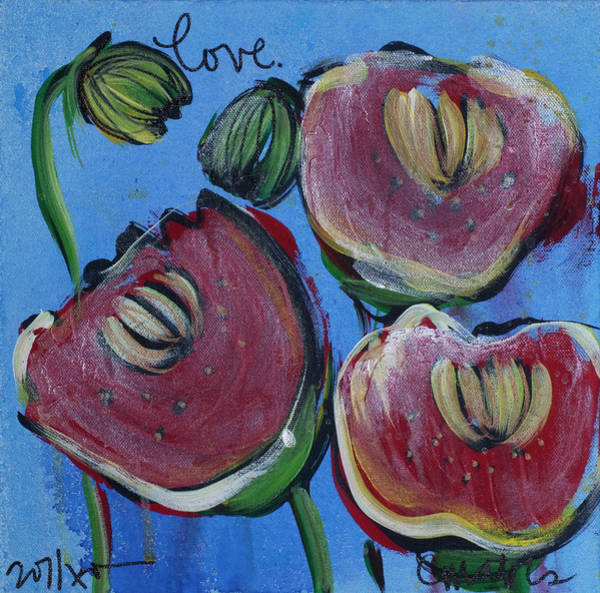 Painting - Once Upon A Yoga Mat Poppies 3 by Laurie Maves ART