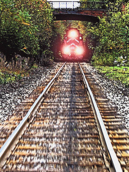 Straight Ahead Wall Art - Photograph - Oncoming Train by Steve Ohlsen