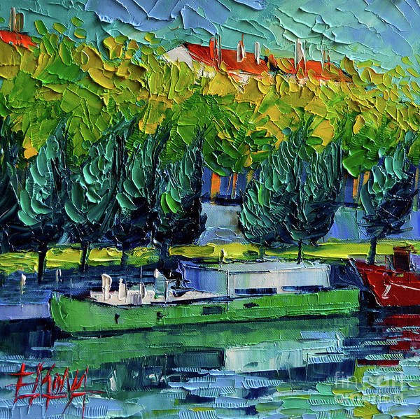 Wall Art - Painting - One Barge On The Rhone River - Impasto Palette Knife Oil Painting by Mona Edulesco