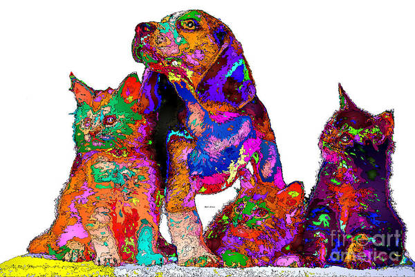 Digital Art - One Big Happy Family. Pet Series by Rafael Salazar