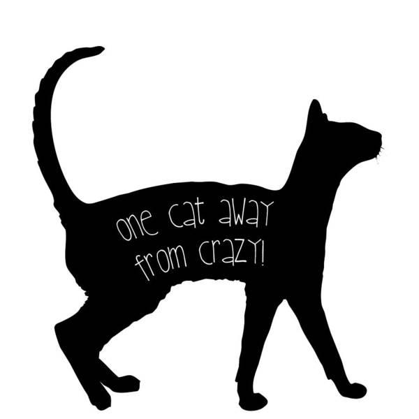 Digital Art - One Cat Away From Crazy by Nancy Ingersoll