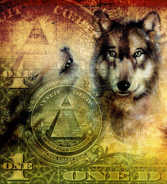 Primal Painting - One Dollar Collage With Wolf Head Painting On Canvas Color Ornament by Jozef Klopacka