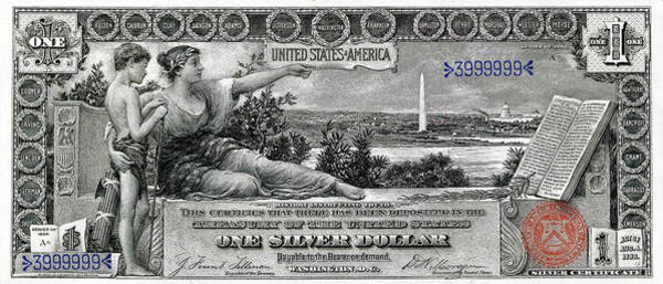 Digital Art - One Dollar Note - 1896 Educational Series  by Serge Averbukh