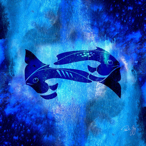 Mixed Media - One Fish Two Fish Blue Fish by Paul Gaj