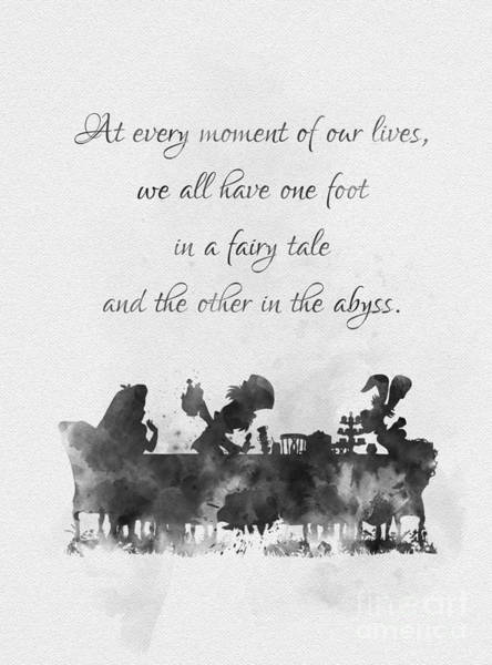 Wall Art - Mixed Media - One Foot In A Fairy Tale Black And White by My Inspiration