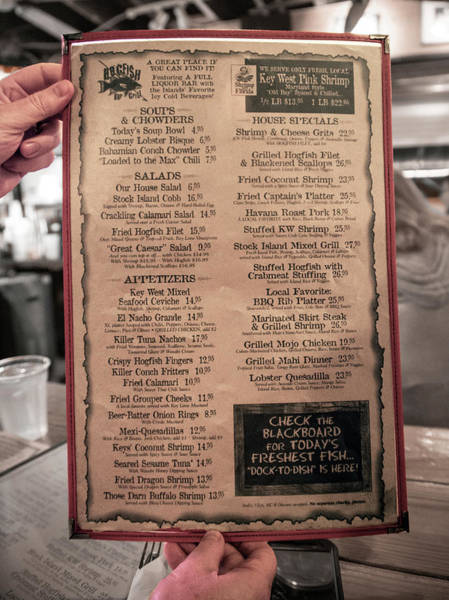 Wall Art - Photograph - One Good Menu Stock Island Florida Keys by Betsy Knapp