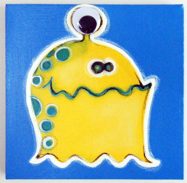 Morea Wall Art - Painting - oNE gOOGLY eYE mONSTER by Mara Morea