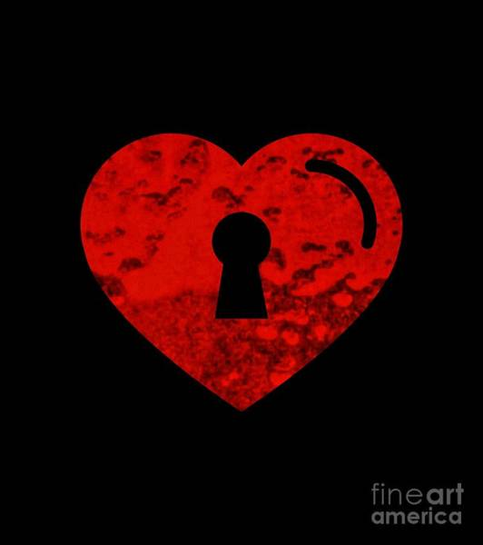 Digital Art - One Heart One Key by Rachel Hannah