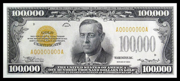 Wall Art - Photograph - One Hundred Thousand Dollar Gold Certificate   1934 Series by Daniel Hagerman