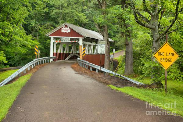 Garrett County Wall Art - Photograph - One Lane Burkholder Bridge by Adam Jewell