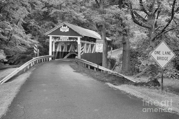 Garrett County Wall Art - Photograph - One Lane Burkholder Bridge Black And White by Adam Jewell