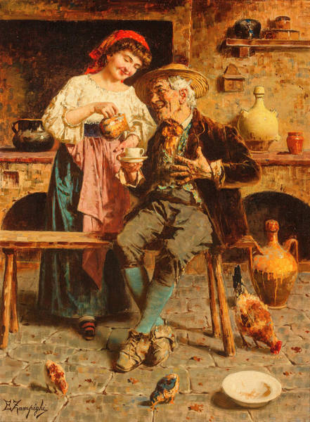 Rural Life Wall Art - Painting - One More Cup by Eugenio Zampighi