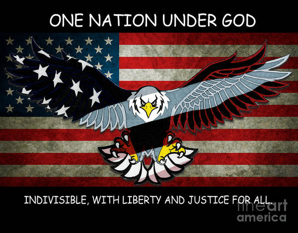 Drawing - One Nation Under God by Bill Richards