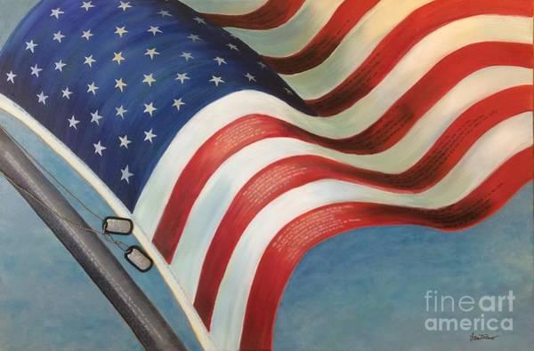 Mixed Media - One Nation Under God by Lisa DuBois