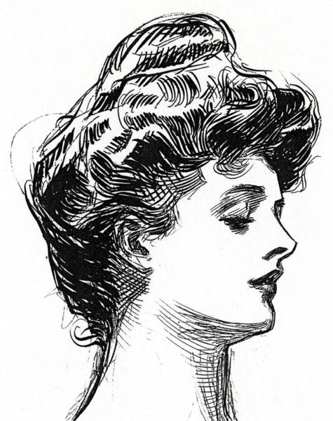 Wall Art - Drawing - One Of Charles Dana Gibson's Gibson Girls by Charles Dana Gibson