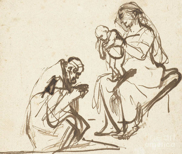 Bethlehem Drawing - One Of The Three Kings Adoring The Virgin And Child by Rembrandt