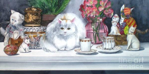 Painting - One Real Cat And Several Faux Kitties by Jane Loveall