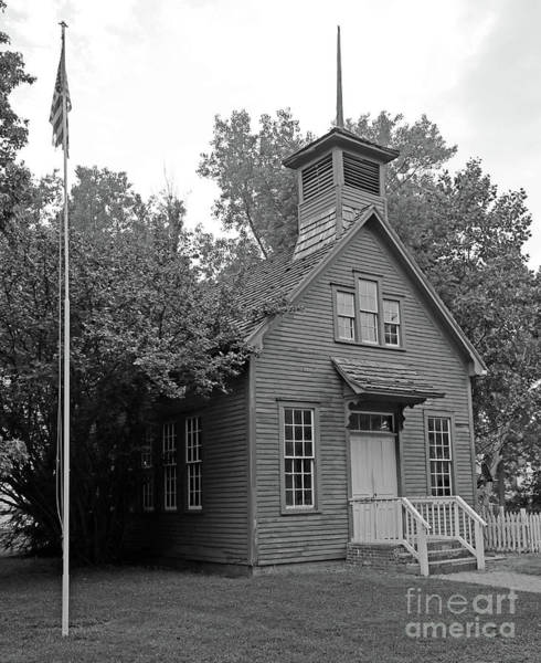 Rockville Photograph - One Room Schoolhouse Black And White by Steve Gass