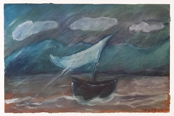 Drawing - One Sail At Sea by Katt Yanda