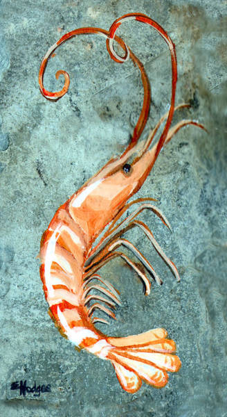 Slate Painting - One Shrimp by Elaine Hodges