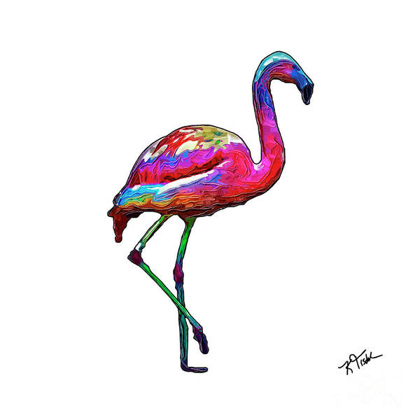 Digital Art - One Step At A Time Abstract Flamingo by Kirt Tisdale