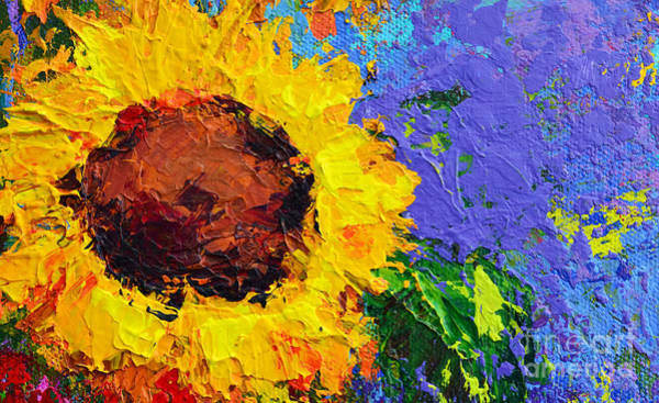 Painting - One Sunflower Floral Still Life Modern Impressionistic  Palette Knife Work by Patricia Awapara