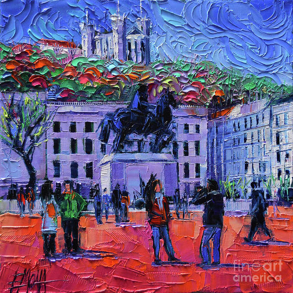 Morning Walk Wall Art - Painting - One Tuesday In Lyon - Palette Knife Oil Painting by Mona Edulesco
