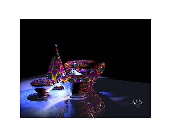 Mixed Media - One Vase And Three Bowls by Paul Gaj