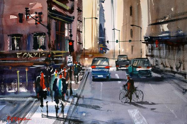 City Scene Painting - One Way Street - Chicago by Ryan Radke