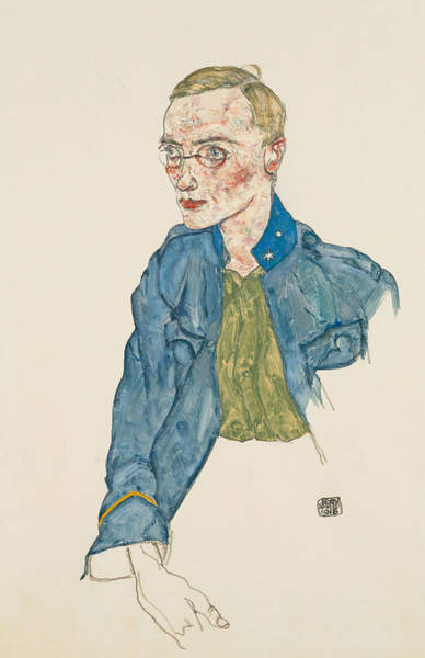 20th Century Man Drawing - One-year Volunteer Lance-corporal by Egon Schiele
