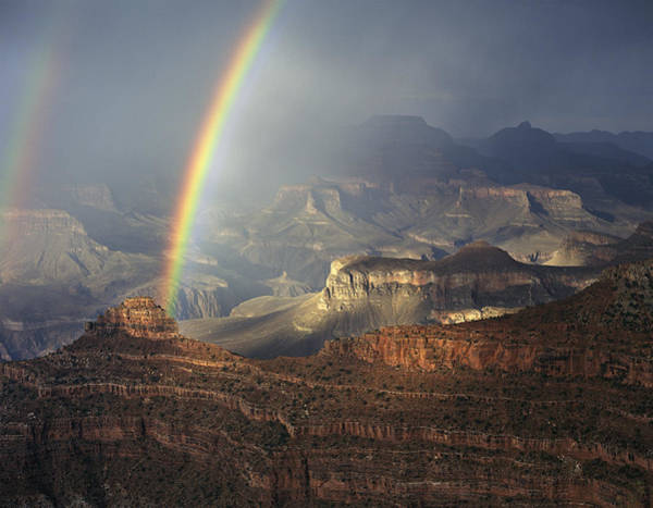 Mather Point Photograph - O'neill Butte Rainbow by Mike Buchheit