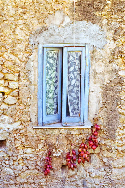 Stone Wall Wall Art - Photograph - Onions And Garlic On Window by Silvia Ganora
