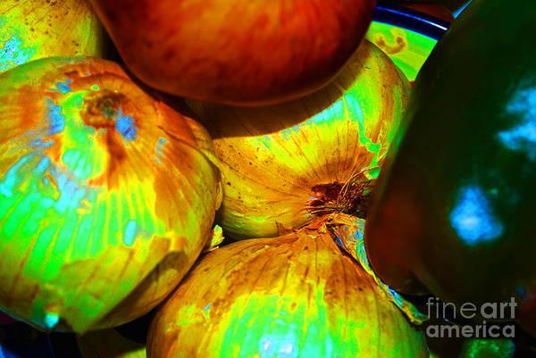 Digital Art - Onions Apples Pepper Closeup by George D Gordon III